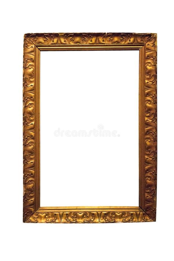 Isolerad fotoram, guld- antik fotoram royaltyfri fotografi