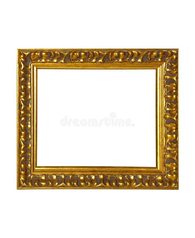 Isolerad fotoram, guld- antik fotoram fotografering för bildbyråer