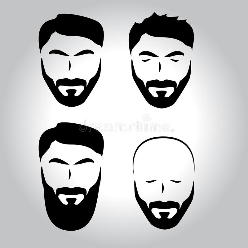 Isolerad framsida med mustaschen, skägg, uppsättning för hårvektorlogo Manbarberaren shoppar emblemet vektor illustrationer