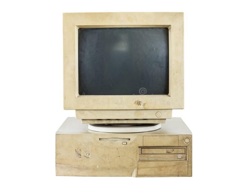 Isolerad gammal dator arkivfoto
