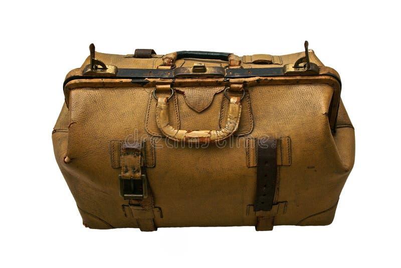 isolerad gammal resväska för läder arkivbilder