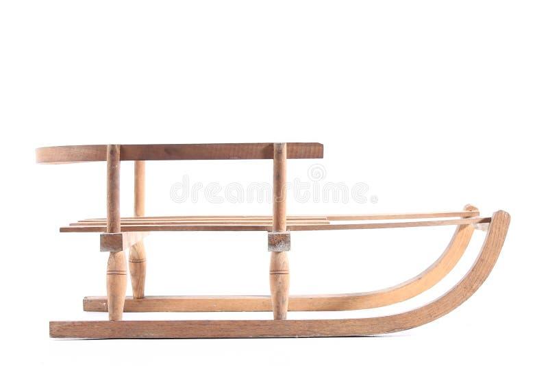 Isolerad gammal träjul för vinter för sport för släde för pulkatappningträ royaltyfria bilder