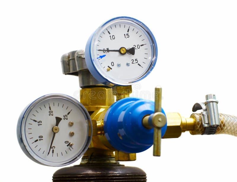 isolerad gas meters tryck royaltyfria bilder