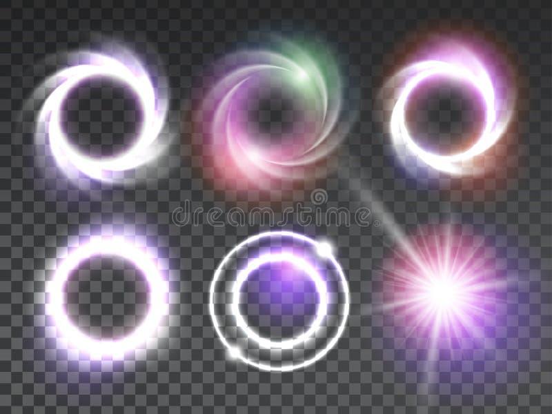 Isolerad genomskinlig glödande uppsättning för ljusa effekter vektor illustrationer