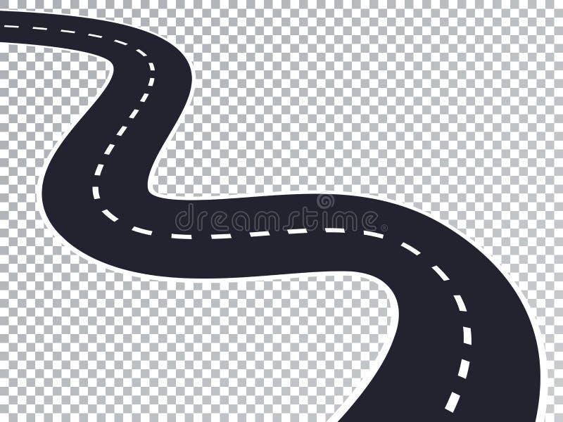Isolerad genomskinlig specialeffekt för slingrig väg stock illustrationer