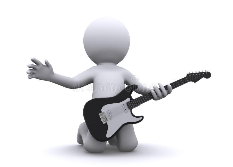 Isolerad gitarrist 3d stock illustrationer