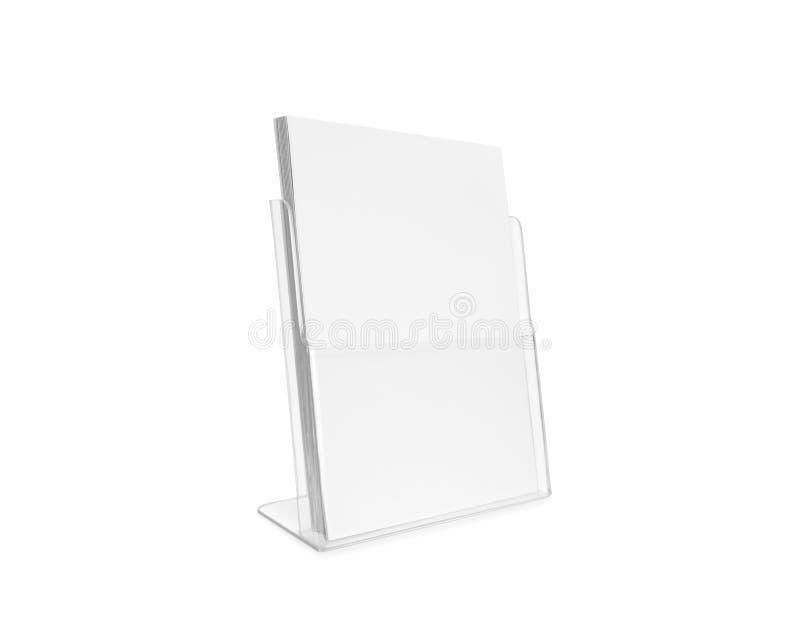 Isolerad glass plast- genomskinlig hållare för tom reklambladmodell fotografering för bildbyråer