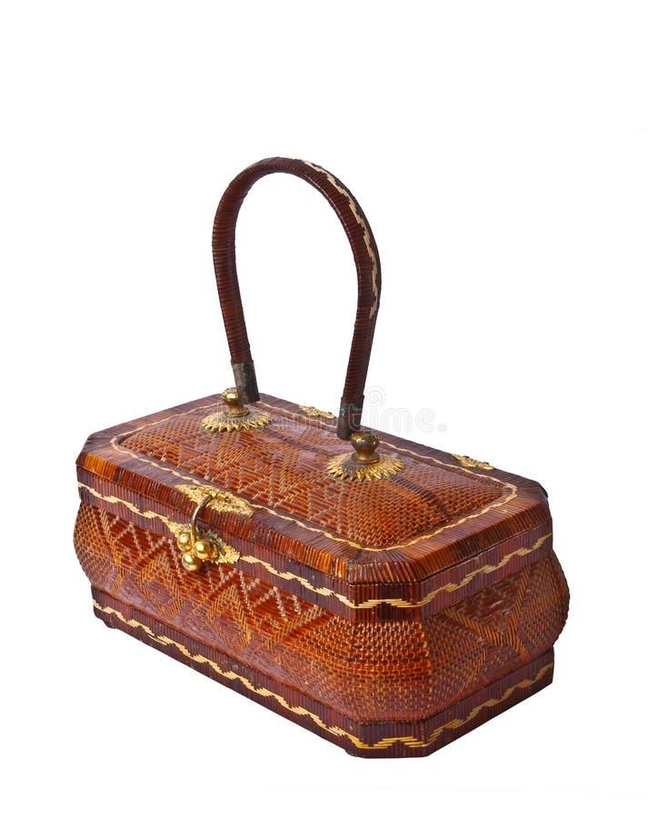 isolerad gnäggande för bambu handväska royaltyfri foto