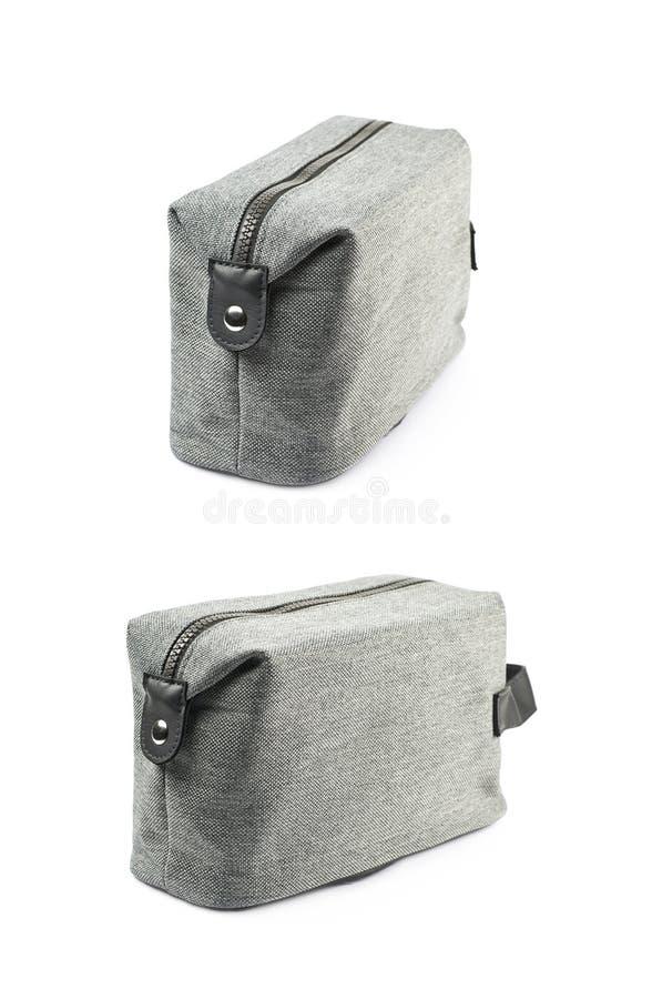 Isolerad grå hygienisk handväska fotografering för bildbyråer
