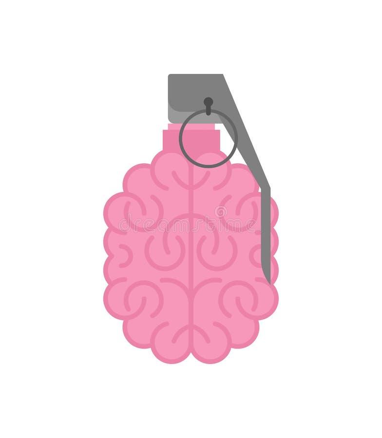 Isolerad granathjärna Militära ammunitionar för hjärnor armén bombarderar storhjärnan vektor illustrationer