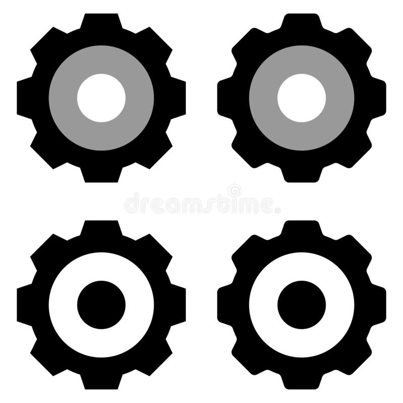 Isolerad grupp för kugghjul symbol i vit bakgrund stock illustrationer
