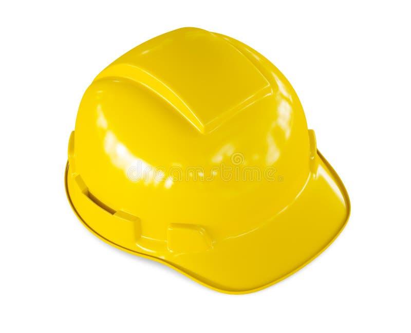 Isolerad gul hård hatt av byggnadsarbetaren royaltyfria foton