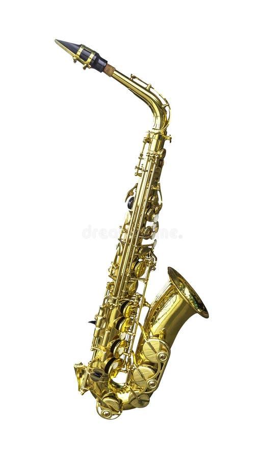 Isolerad guld- alt- saxofon arkivbilder