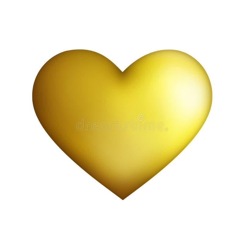 isolerad guld- hjärta stock illustrationer