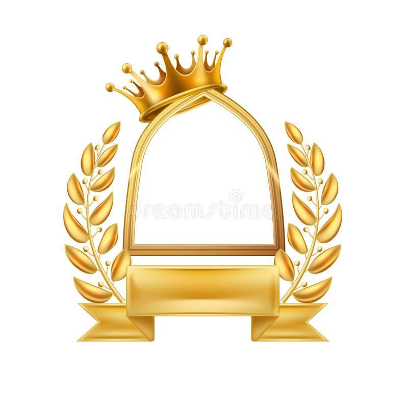 Isolerad guld- ram för vinnare för kronalagerkrans stock illustrationer