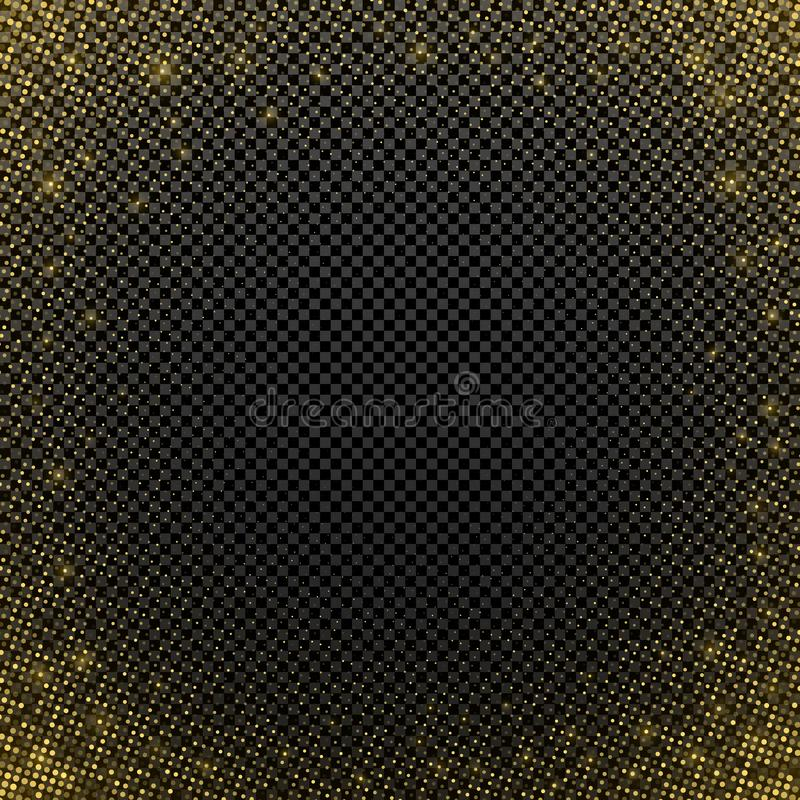 Isolerad guld- rastrerad effekt på en mörk genomskinlig bakgrund Abstrakt bakgrund för diskoparti blänka guld- mall royaltyfri illustrationer