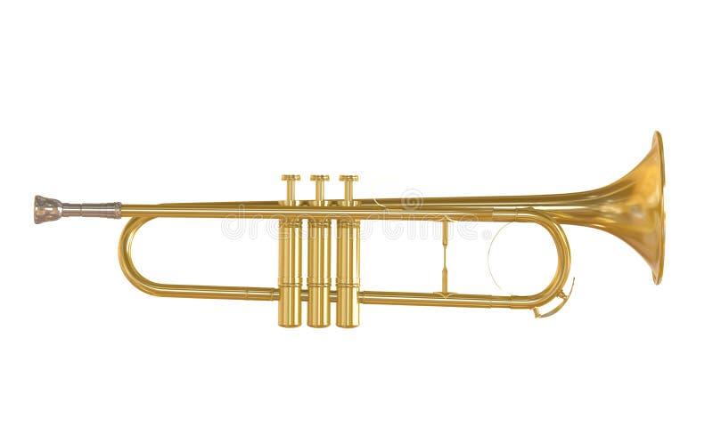 Isolerad guld- trumpet royaltyfri illustrationer