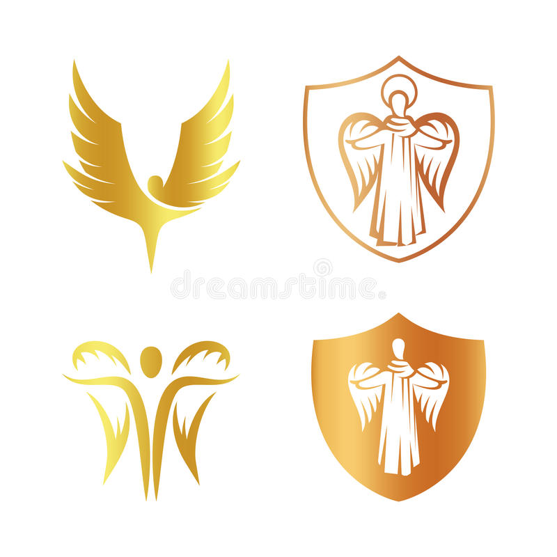 Isolerad guld- uppsättning för logo för färgängelkontur, sköld med den religiösa beståndsdellogotypsamlingen, lag av armen med stock illustrationer