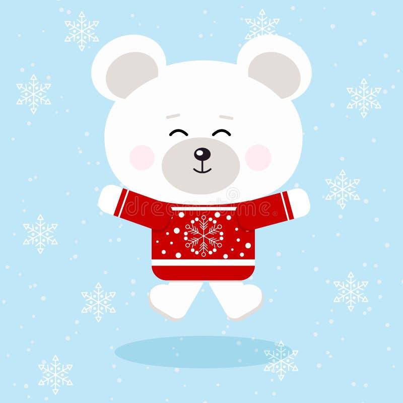 Isolerad gullig isbjörn för lycklig jul i röd tröja i snöbakgrund vektor illustrationer