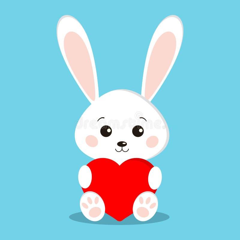 Isolerad gullig och söt vit kaninkanin, i att sitta posera med röd hjärta royaltyfri illustrationer