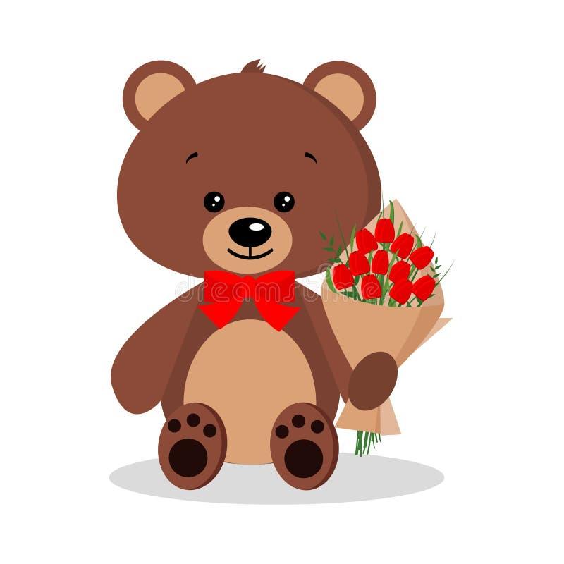 Isolerad gullig rolig elegant romantisk brunbjörn för tecknad film i fluga med buketten stock illustrationer