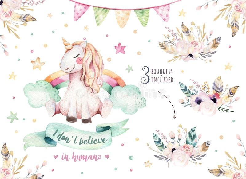 Isolerad gullig vattenfärgenhörningclipart Barnkammareenhörningillustration Affisch för prinsessaregnbågeenhörningar Moderiktiga  royaltyfri illustrationer