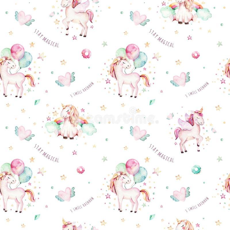 Isolerad gullig vattenfärgenhörningmodell Aquarelle för barnkammareregnbågeenhörningar Prinsessaunicornscollection Moderiktiga ro stock illustrationer