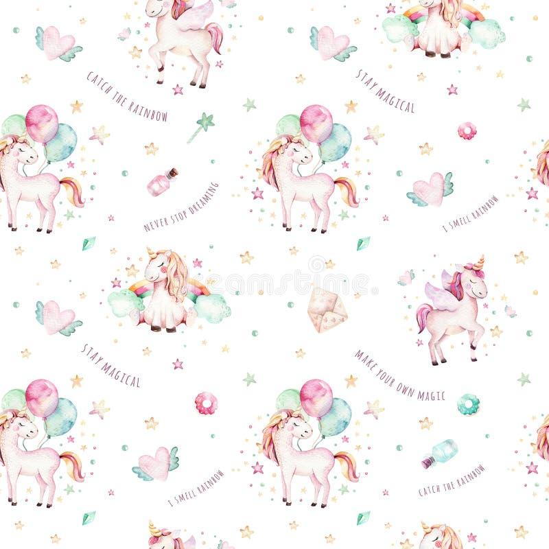 Isolerad gullig vattenfärgenhörningmodell Aquarelle för barnkammareregnbågeenhörningar Prinsessaunicornscollection Moderiktiga ro royaltyfri illustrationer