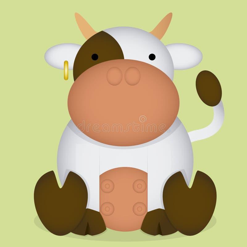 Isolerad gullig vit liten ko för vektortecknad film vektor illustrationer
