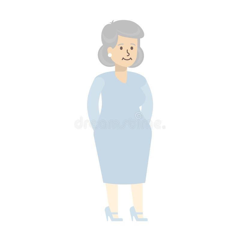 isolerad hög kvinna stock illustrationer