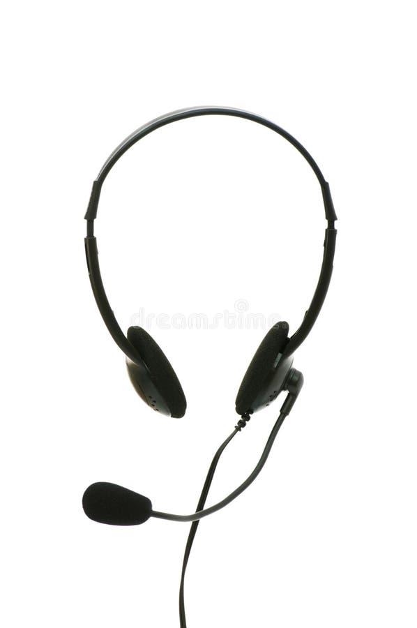isolerad hörlurar med mikrofon arkivbild