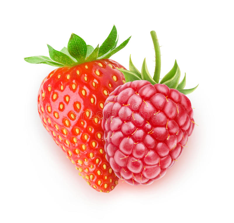Isolerad hallon och jordgubbe royaltyfria foton