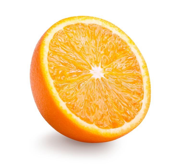 Isolerad halva av orange frukt royaltyfri foto