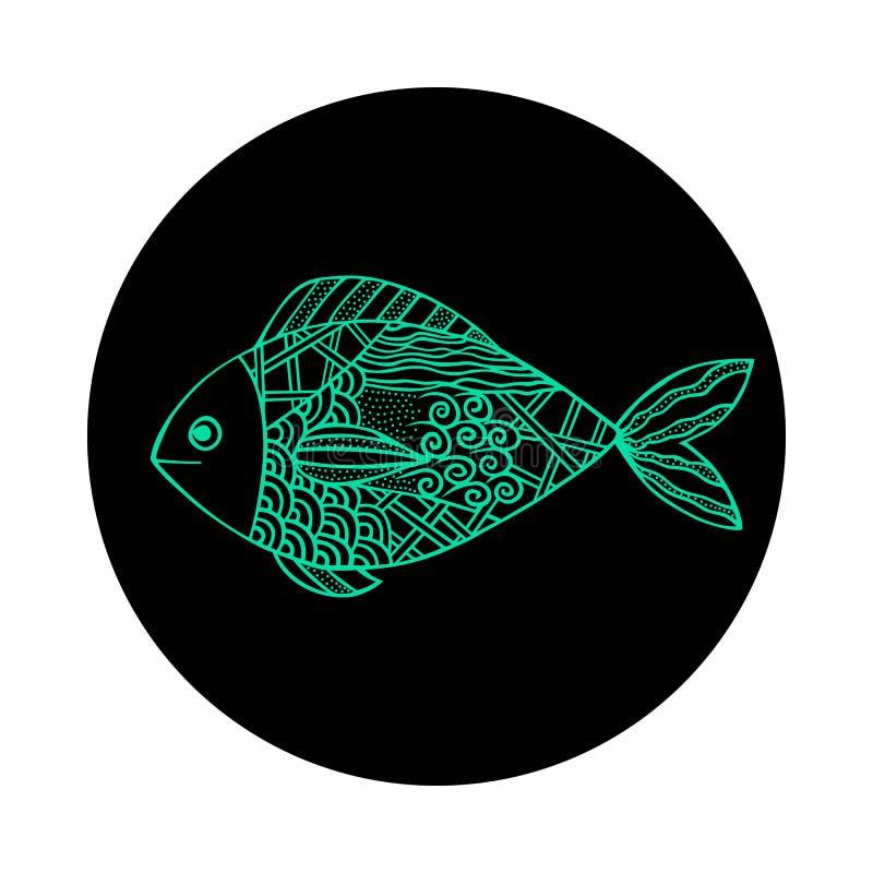 Isolerad hand dragen grön översiktsfisk på svartrundabakgrund Prydnad av kurvlinjer stock illustrationer