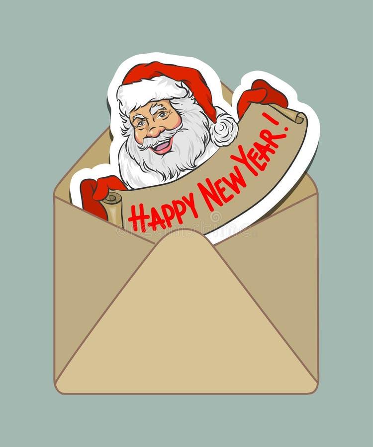 Isolerad hand-dragen kulör kraft kuvert och klistermärke med tecknade filmen Santa Claus vektor illustrationer