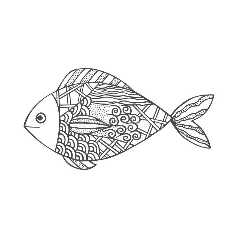 Isolerad hand dragen svart översiktsfisk på vit bakgrund Prydnad av kurvlinjer vektor illustrationer