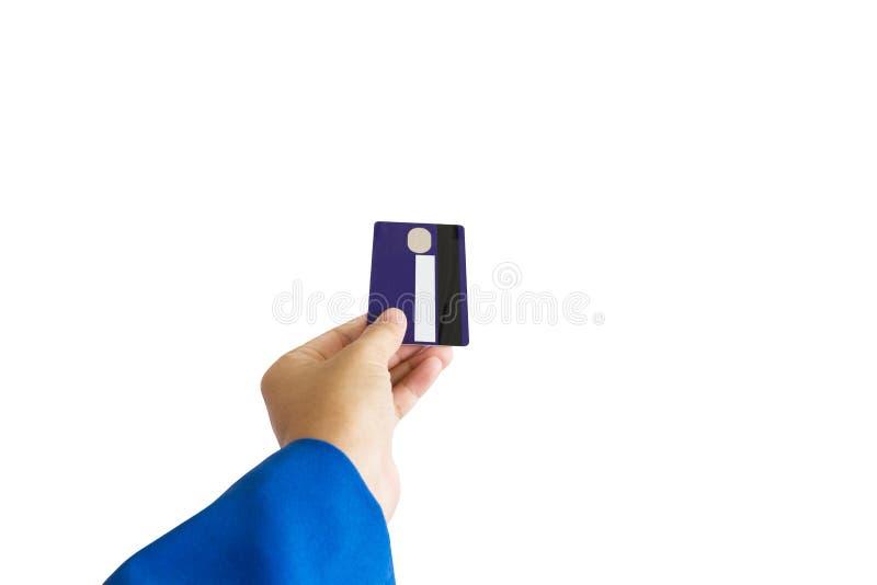 Isolerad hand för affärskvinnor med krediterings- eller debiteringATM-kortet royaltyfri fotografi