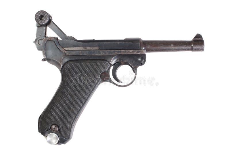 Isolerad handeldvapen för Luger P08 Parabellum arkivfoto
