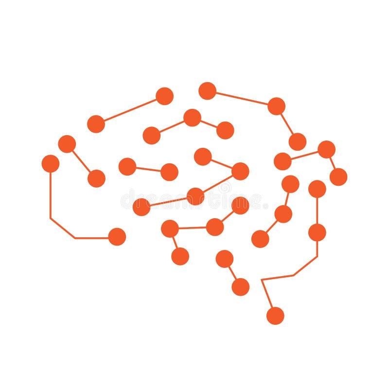 Isolerad hjärnnätverkssymbol konstgjord intelligens stock illustrationer