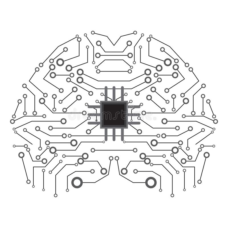 Isolerad hjärnnätverkssymbol konstgjord intelligens royaltyfri illustrationer