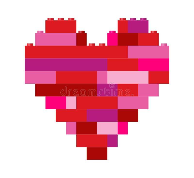 Isolerad hjärta i leksaker för byggnadskvarter stock illustrationer