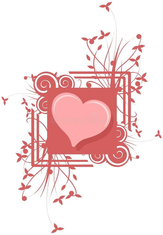 Isolerad hjärta som dekoreras med blom- fantasi och abstrakta beståndsdelar royaltyfri illustrationer