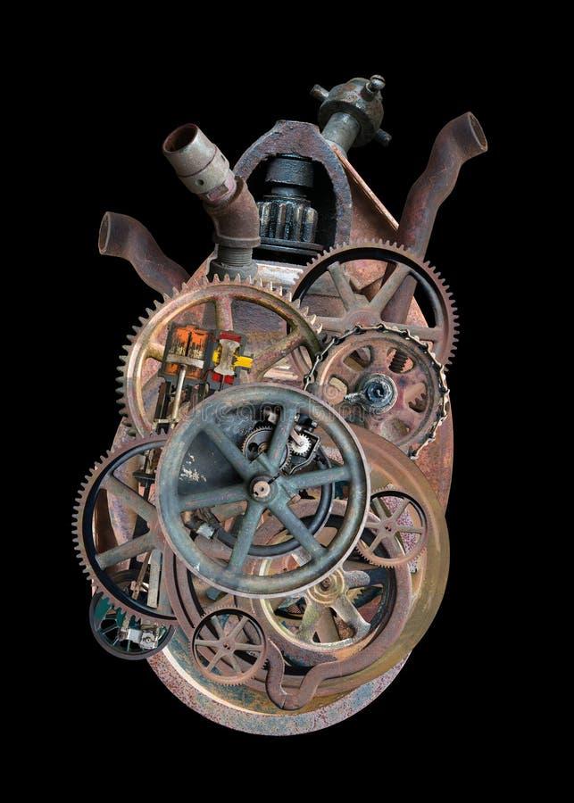 Isolerad hjärta Steampunk för mänsklig maskin royaltyfria foton