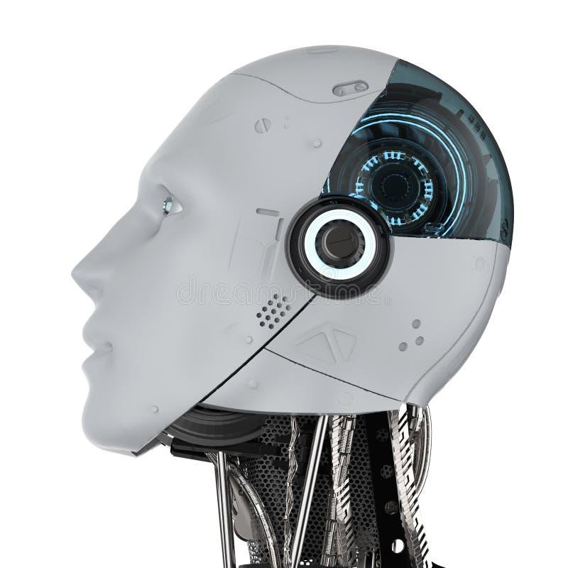 Isolerad Humanoid robot royaltyfri illustrationer