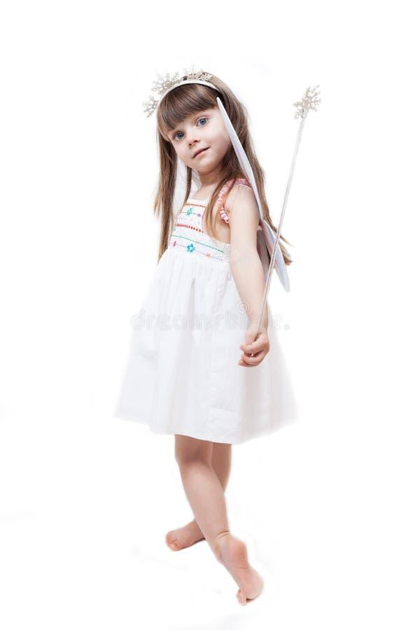 Isolerad iklädd fe för liten härlig flicka fotografering för bildbyråer