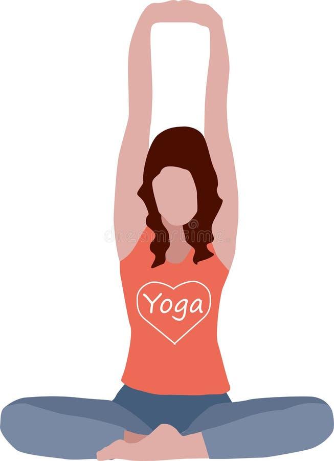 Isolerad illustration av övande yoga för kvinna royaltyfri illustrationer