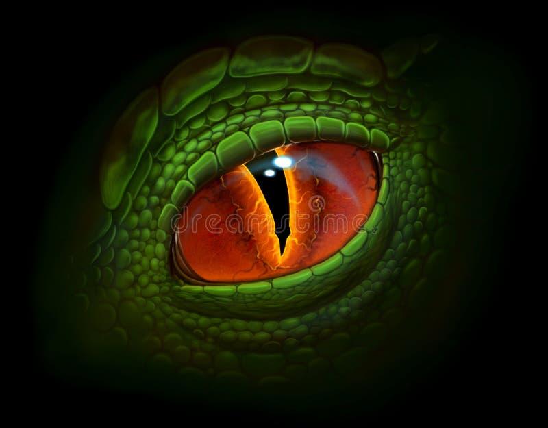 isolerad illustration för öga för drake för amulettbakgrundsblack