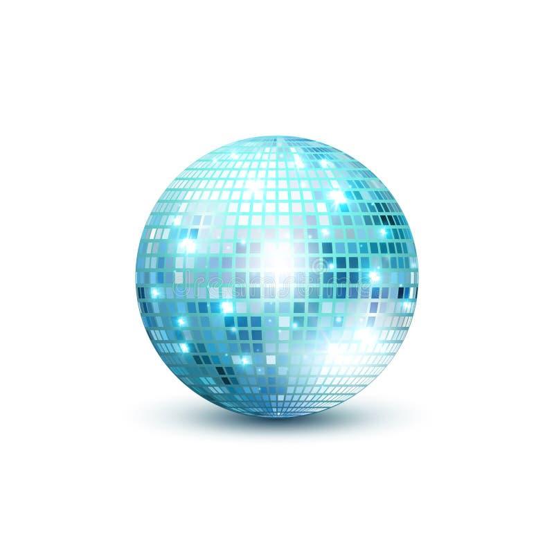 Isolerad illustration för disko boll Beståndsdel för nattklubbpartiljus Guld- bolldesign för ljus spegel för diskodansklubba stock illustrationer