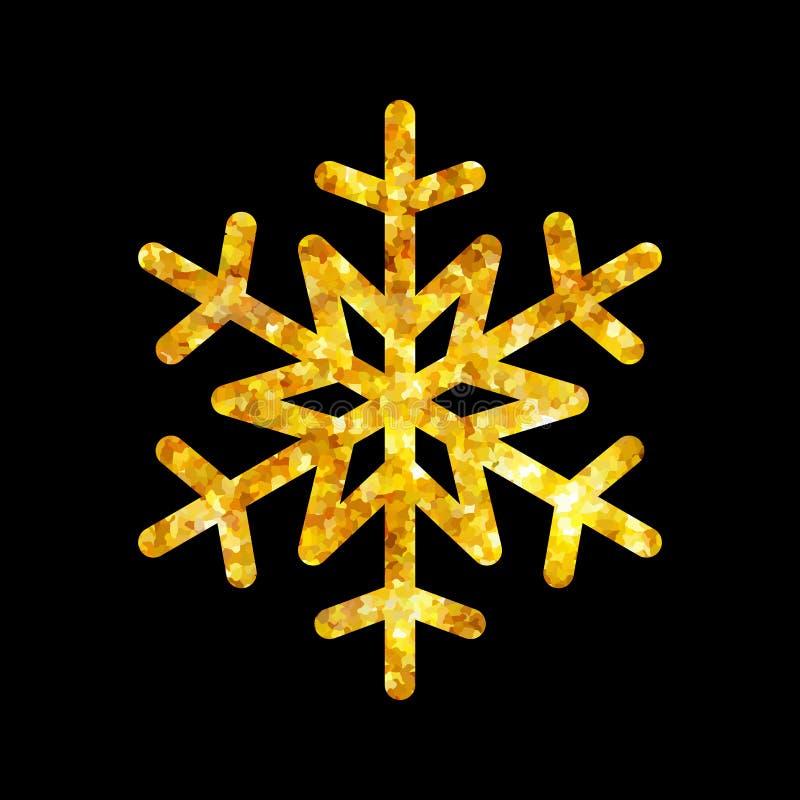 Isolerad illustration för julguldbrand snöflinga stock illustrationer