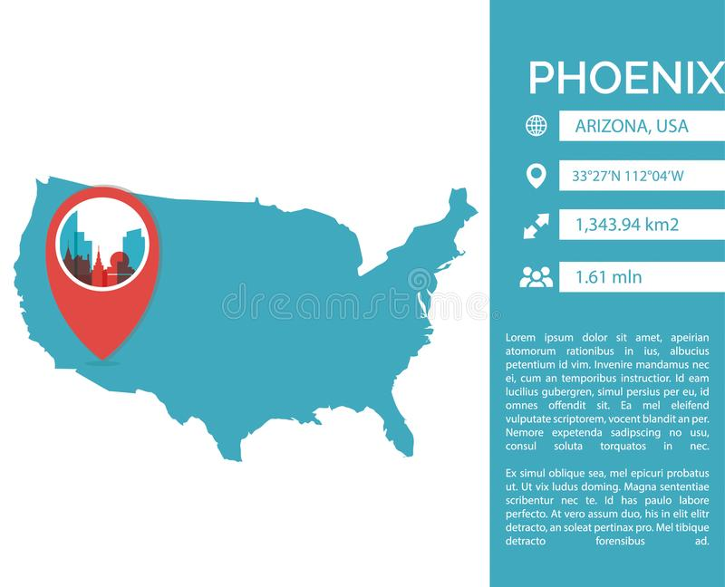 Isolerad illustration för Phoenix översikt infographic vektor stock illustrationer